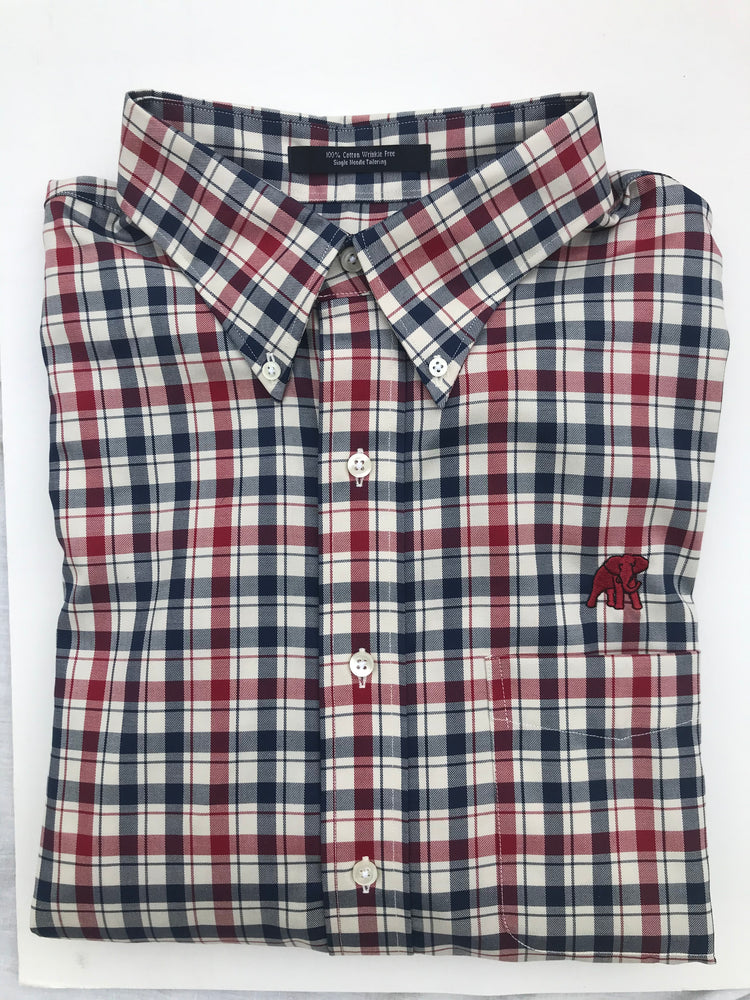 Load image into Gallery viewer, The Shirt Shop Wrinkle Free Crimson/Navy Check with Logo