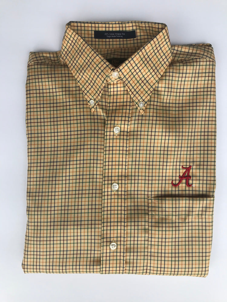 The Shirt Shop Wrinkle Free Crimson/Blue/Green/Gold Check on Gold Background with Logo