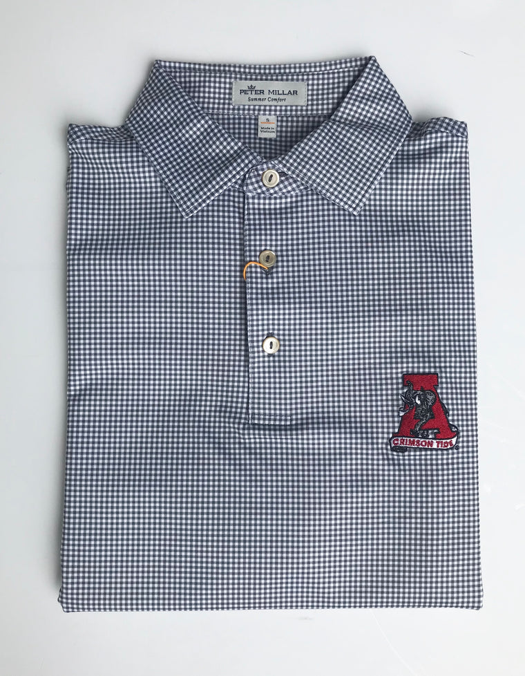 Peter Millar Greek Gingham Performance Polo with Alabama Vault Logo