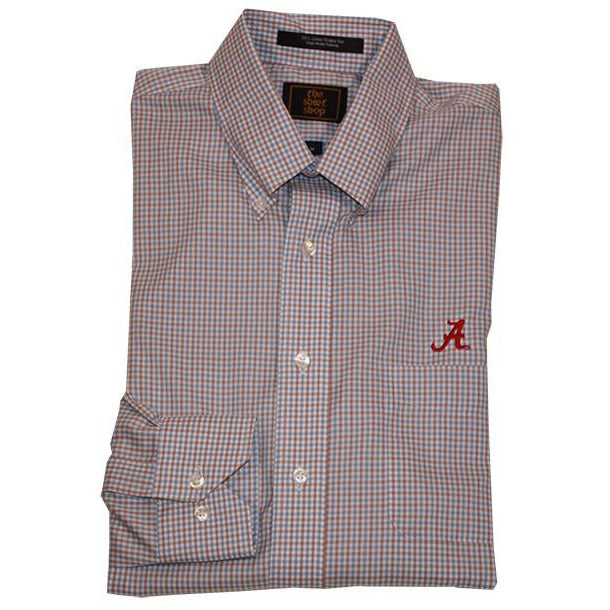 Wrinkle Free Blue/Tan Plaid Button Down Collar with Script A logo