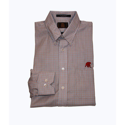 Wrinkle Free Blue/Tan Plaid Button Down with Elephant Wear Logo