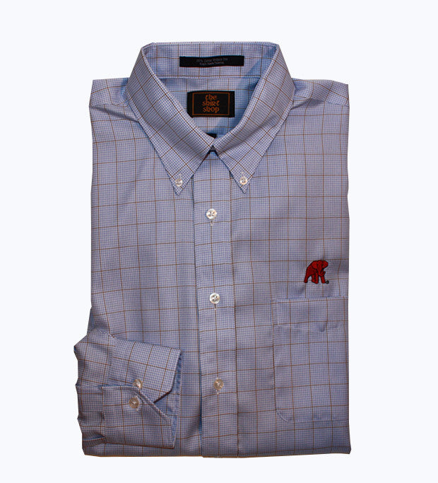 Wrinkle Free Button Down Blue Check with Khaki Overlay - Elephant Wear logo