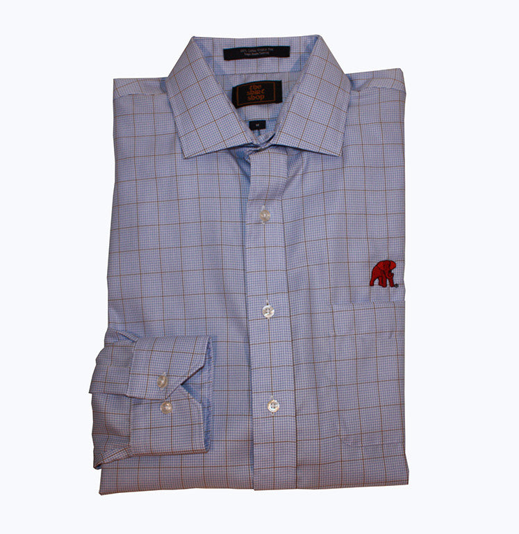 Wrinkle Free Blue Check with Khaki Overlay Spread Collar-  Elephant Wear Logo