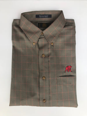 The Shirt Shop Wrinkle Free Dark Sage and Bone with Crimson Overlay