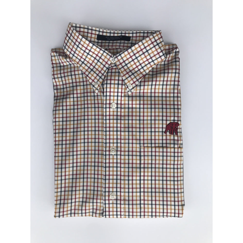 The Shirt Shop Wrinkle Free Crimson/Navy/Gold Tattersall Check on White Background with Logo