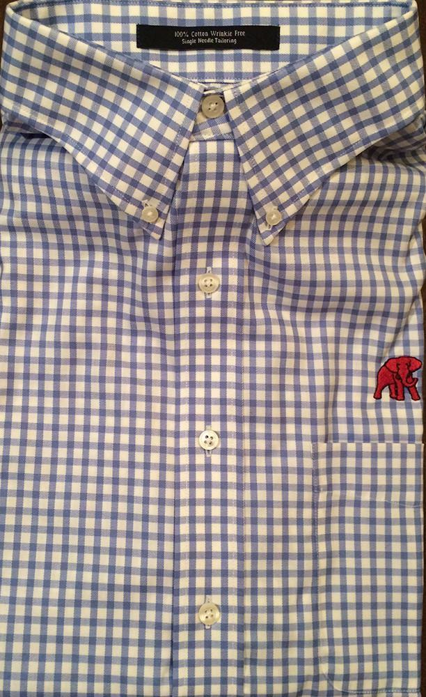 The Shirt Shop Wrinkle Free Light Blue and White Check - Elephant Wear or Script A Logo