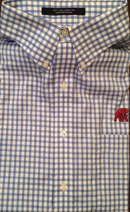 Wrinkle Free Light Blue and White Check - Elephant Wear or Script A Logo