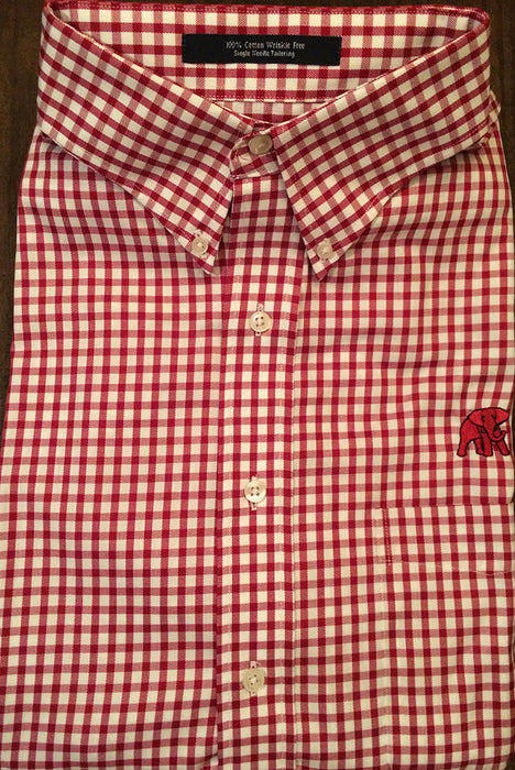 Wrinkle Free Crimson and White Check- Elephant Wear Logo