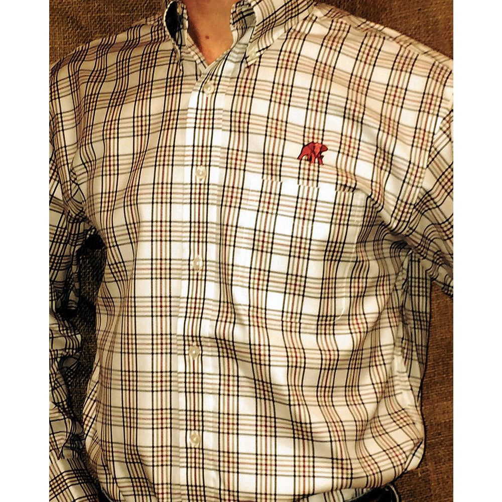 Wrinkle Free Crimson/Navy/Olive Fancy Plaid - Elephant Wear or Script A Logo