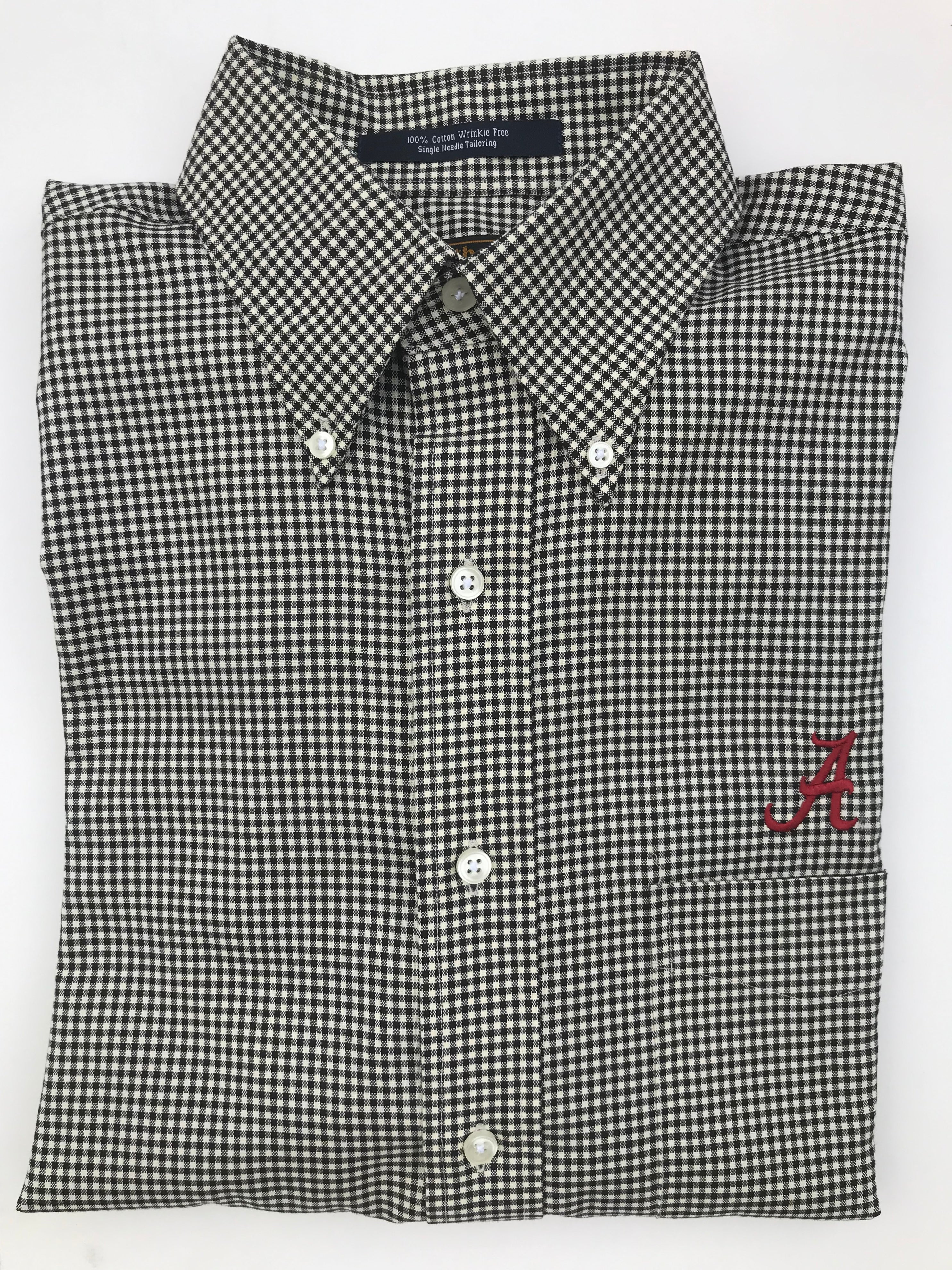 The Shirt Shop Wrinkle Free Black and Bone Check with Logo