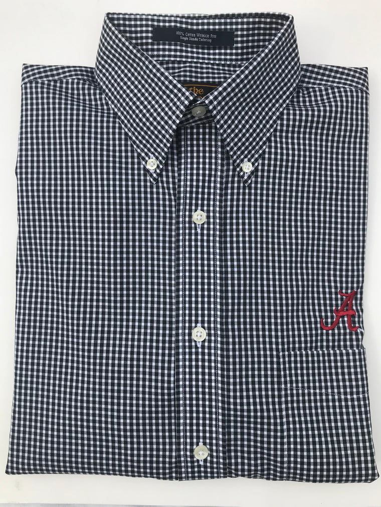 The Shirt Shop Wrinkle Free Black and White Micro Check with Logo