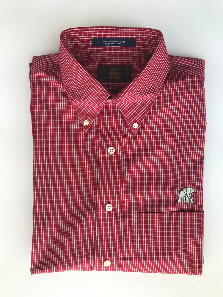 The Shirt Shop Wrinkle Free Crimson Livingston Check