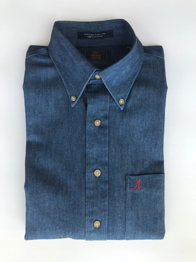 The Shirt Shop Wrinkle Free Denim with small Script A on pocket