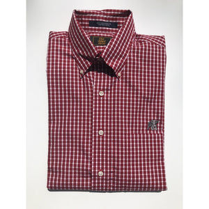 The Shirt Shop Wrinkle Free Crimson Large Check Button Down