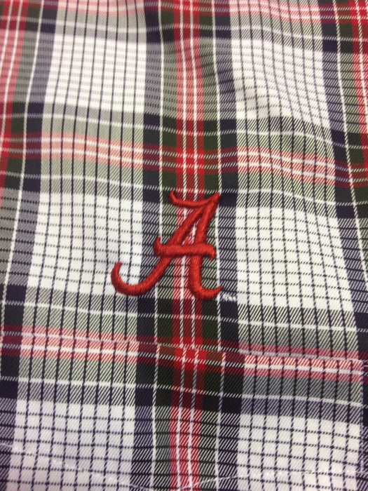 Wrinkle Free Plaid (Crimson/Navy/Hunter/White) - Elephant Wear or Script A Logo