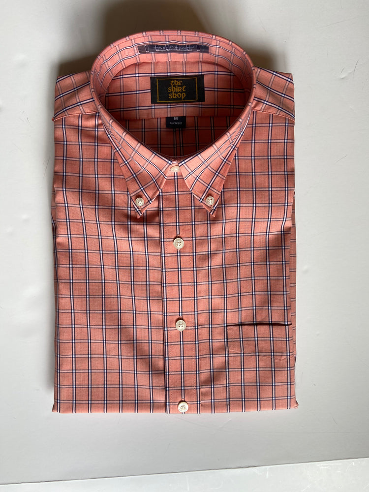 The Shirt Shop Wrinkle Free Non Logo- Coral with Navy and White