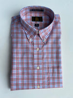The Shirt Shop Wrinkle Free Non Logo- Coral with Green and Navy