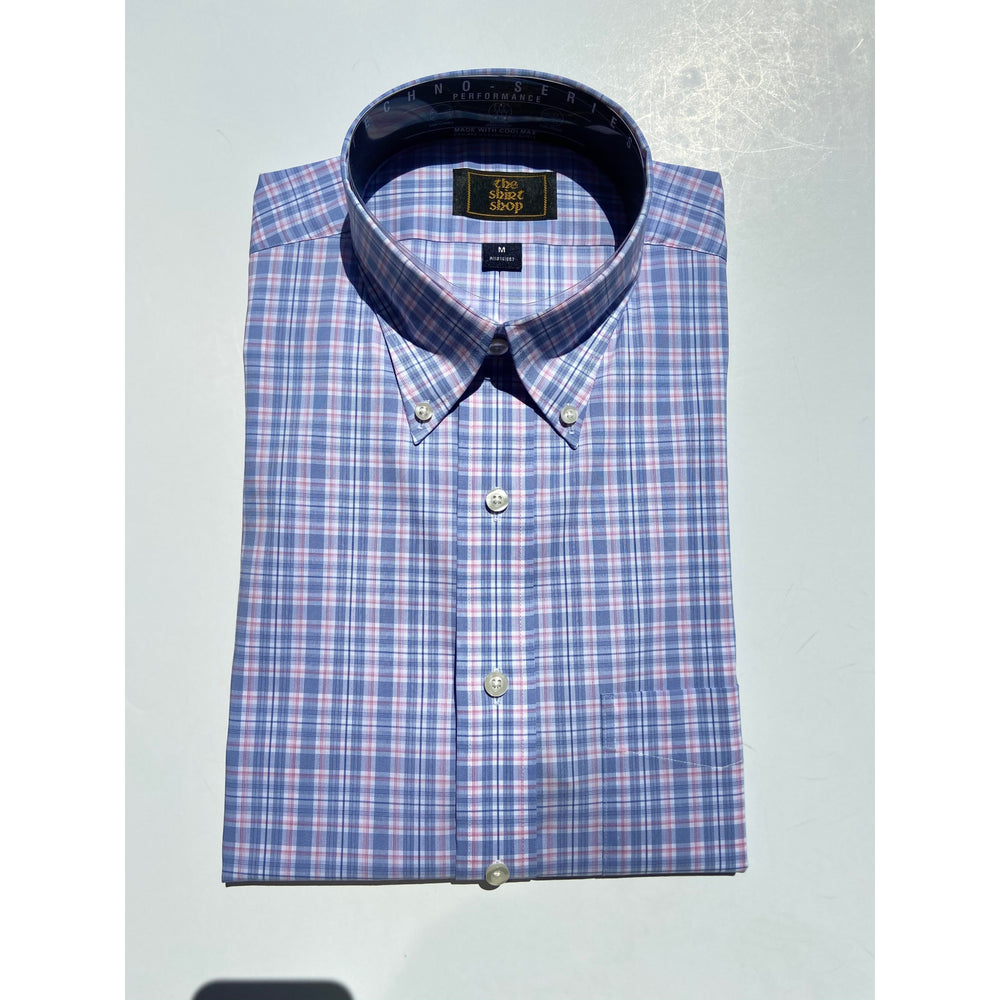 The Shirt Shop Wrinkle Free Non Logo Cool Max- Pink and Blue