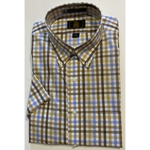 The Shirt Shop Wrinkle Free Short Sleeve Non Logo Brown, Khaki, Blue