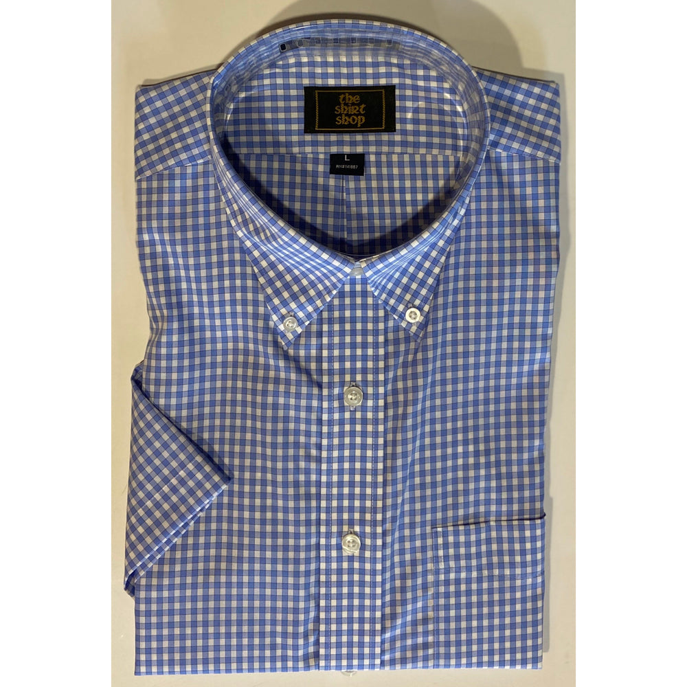 The Shirt Shop Wrinkle Free Short Sleeve Light Blue and White Check