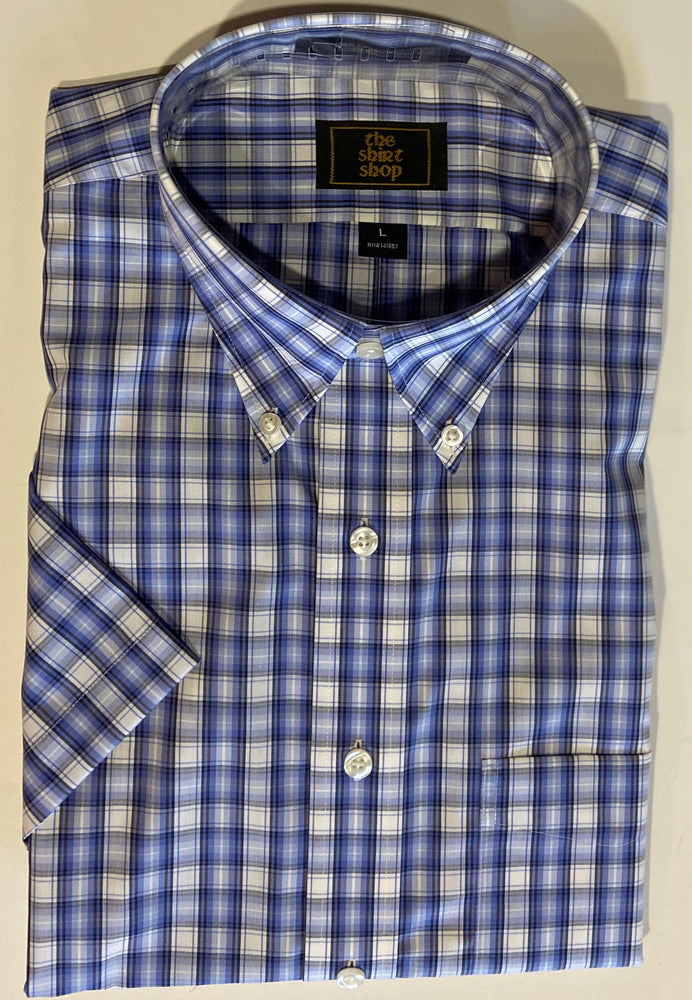 The Shirt Shop Wrinkle Free Short Sleeve Non Logo Blue on Blue Check