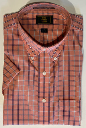 The Shirt Shop Wrinkle Free Short Sleeve Non Logo Orange with Navy Check