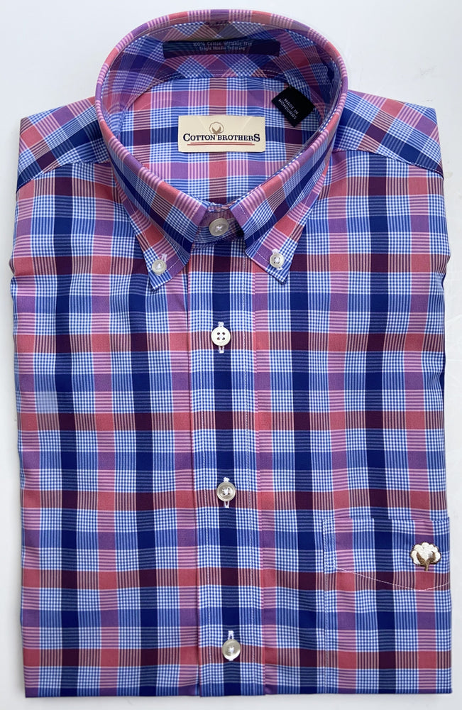 Cotton Brothers Wrinkle Free Button Down- Denny Check (2 Colors)