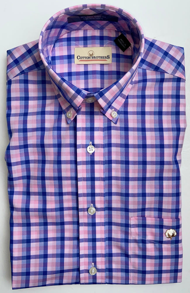 Load image into Gallery viewer, Cotton Brothers Wrinkle Free Button Down - Traveler Check