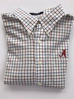 The Shirt Shop Wrinkle Free Royal/Crimson/and Brown Window Pane with Logo