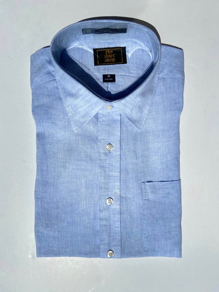 Load image into Gallery viewer, The Shirt Shop Linen Non Logo- Solid Blue Linen with Spread Collar
