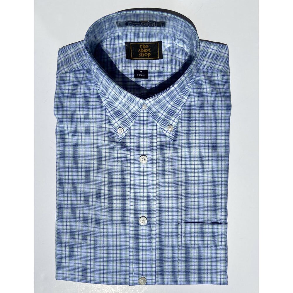 The Shirt Shop Wrinkle Free Non Logo - Blue with Green