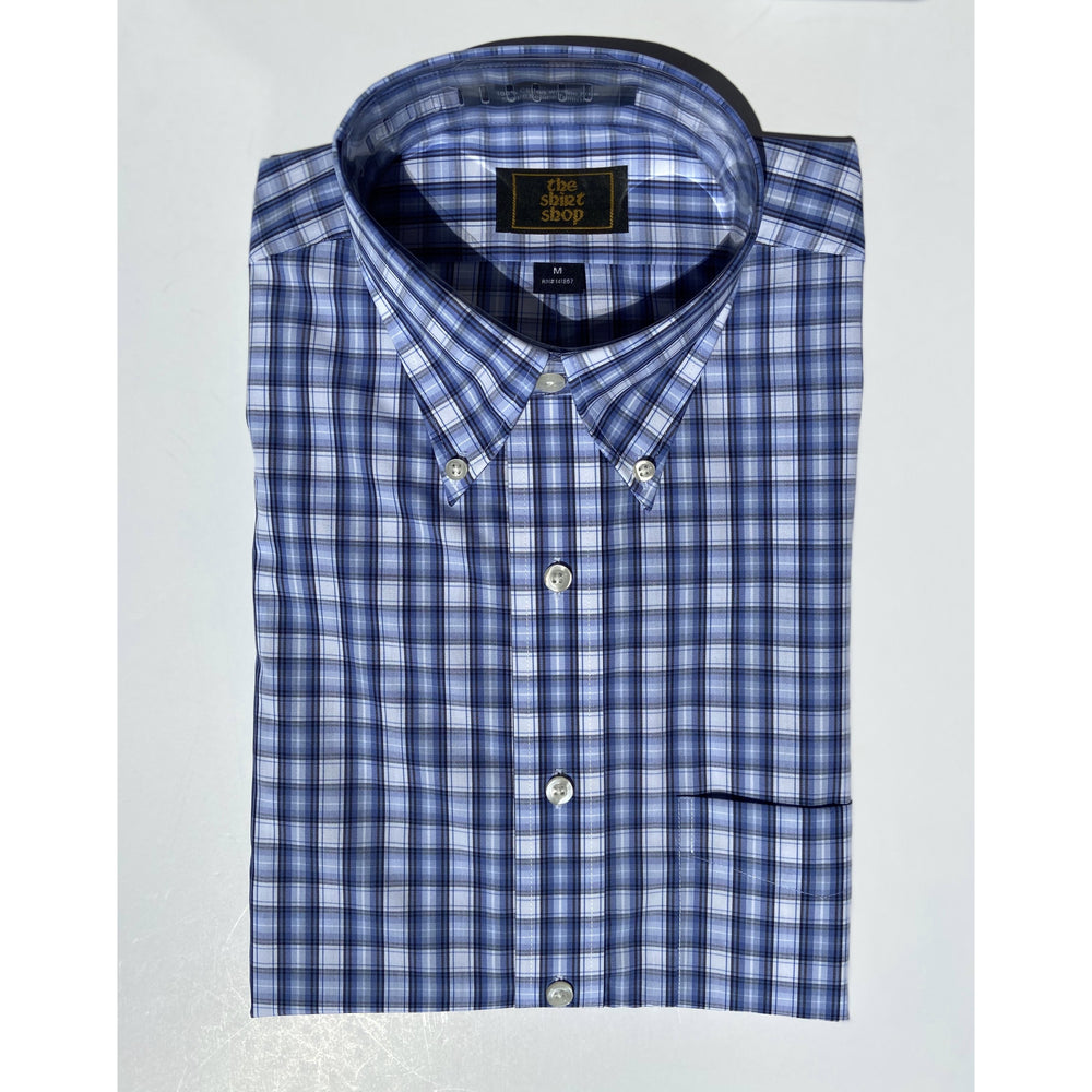 The Shirt Shop Wrinkle Free Non Logo - Blue on Blue Check