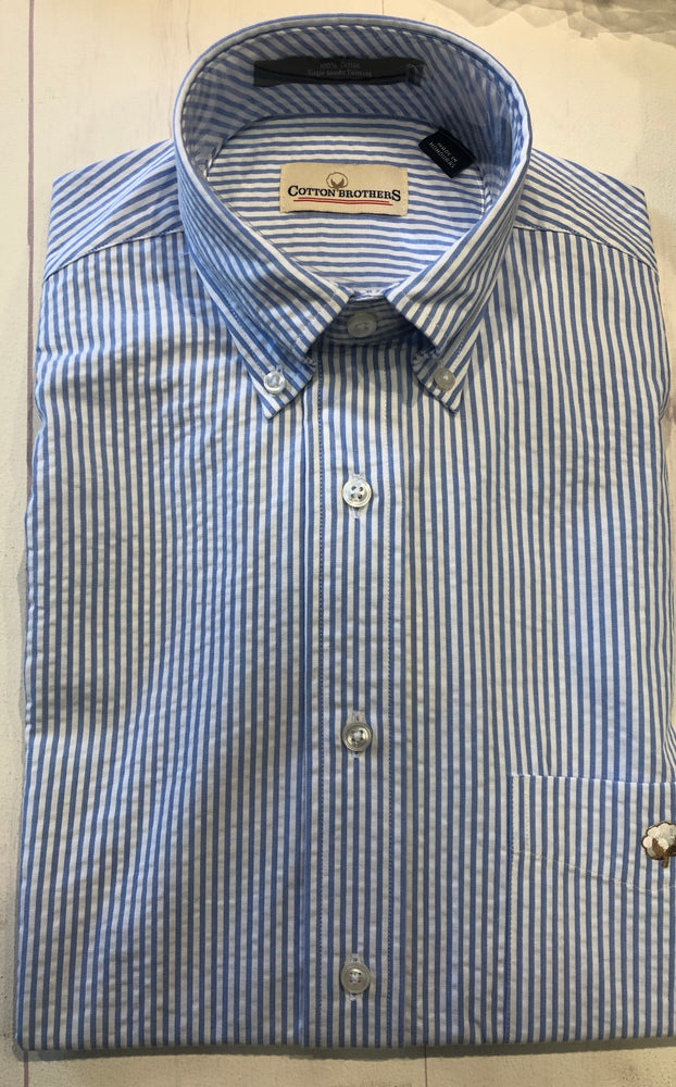 Load image into Gallery viewer, Cotton Brothers Wrinkle Free Button Down- Oxford Stripe Seersucker