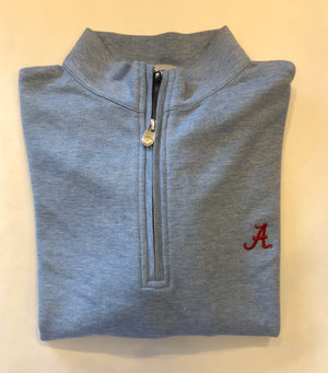 Peter Millar Cotton Quarter Zip with Alabama Logo (4 Colors)