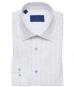 David Donahue Dune & Blue Graph Check Dress Shirt - Regular Fit