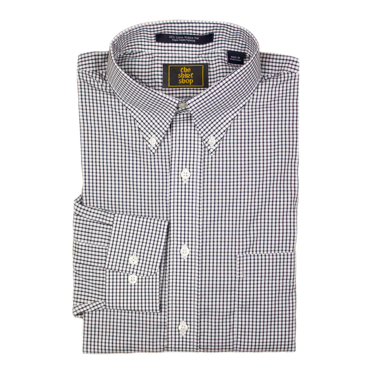 The Shirt Shop Wrinkle Free Black Check Button Down