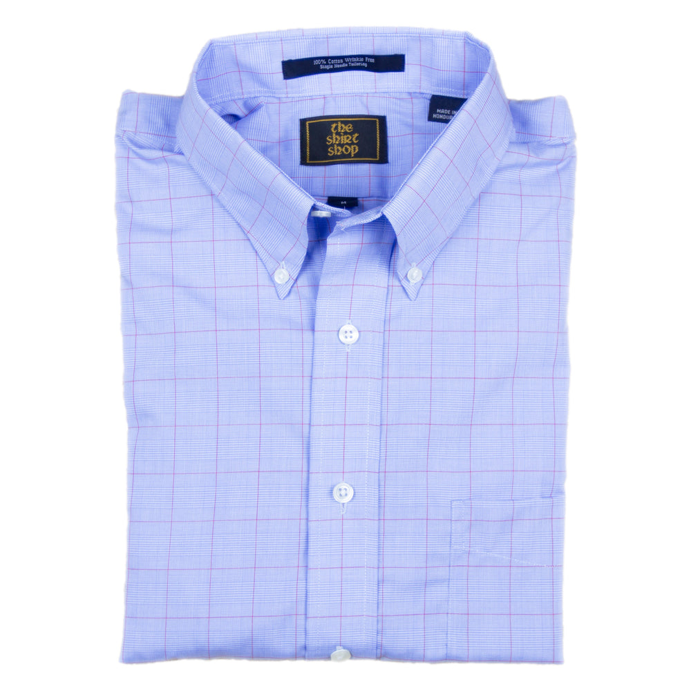 The Shirt Shop Wrinkle Free Blue Glenn Plaid with Crimson Overlay