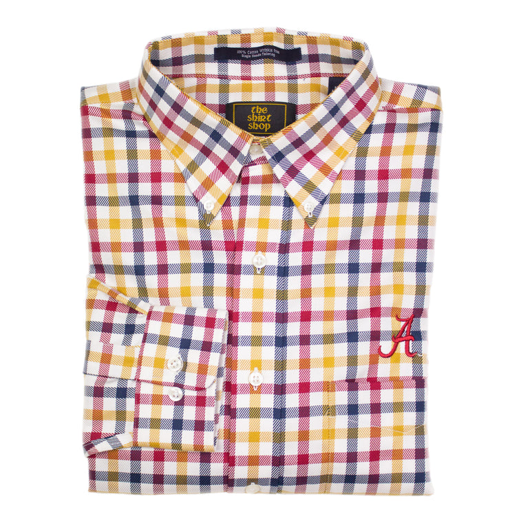 The Shirt Shop Wrinkle Free Gold/Navy/Crimson Herringbone Jumbo Check