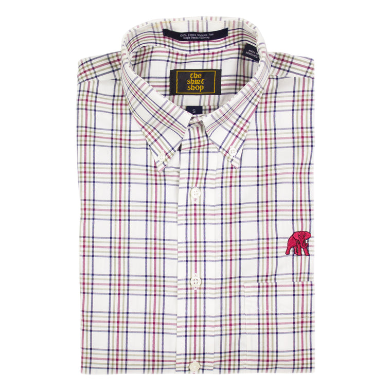 The Shirt Shop Wrinkle Free Crimson/Olive/Navy Plaid Button Down