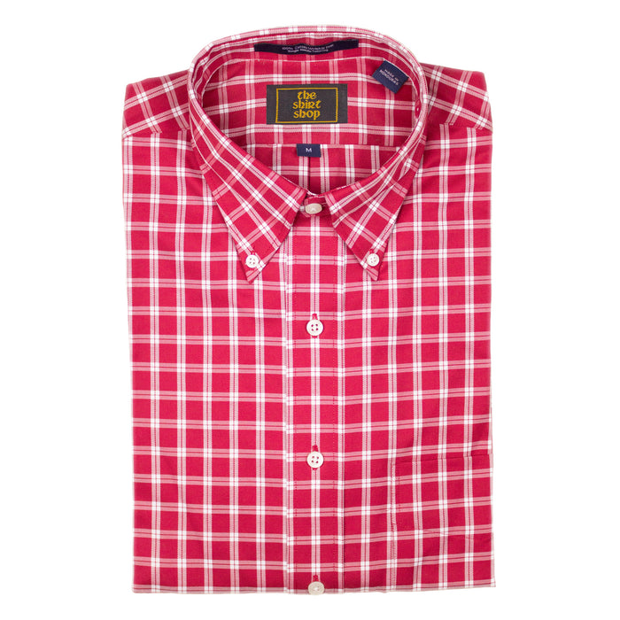 The Shirt Shop Wrinkle Free Crimson/White Overlay Check Button Down