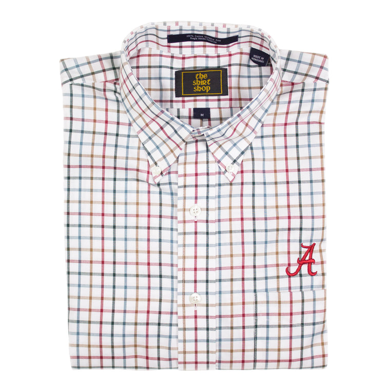 The Shirt Shop Wrinkle Free Hunter, Khaki, and Crimson Check
