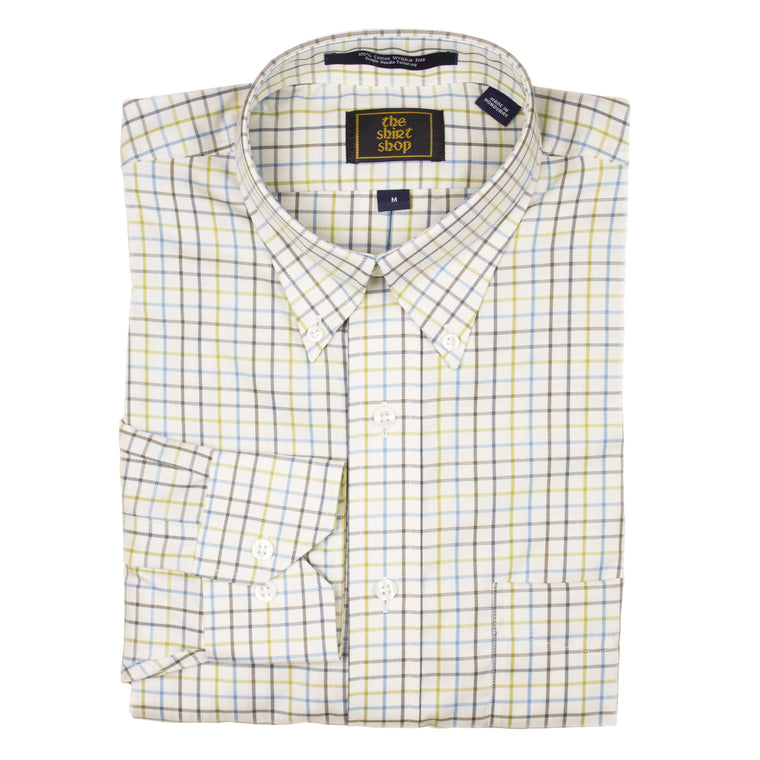 The Shirt Shop Wrinkle Free Olive/Blue/Brown/Navy on Bone Check Button Down