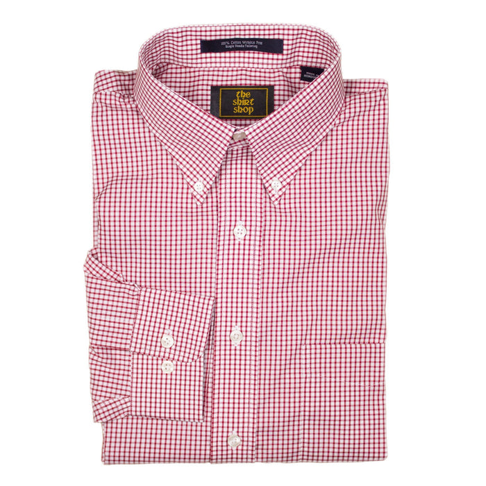 The Shirt Shop Wrinkle Free Red Check Button Down