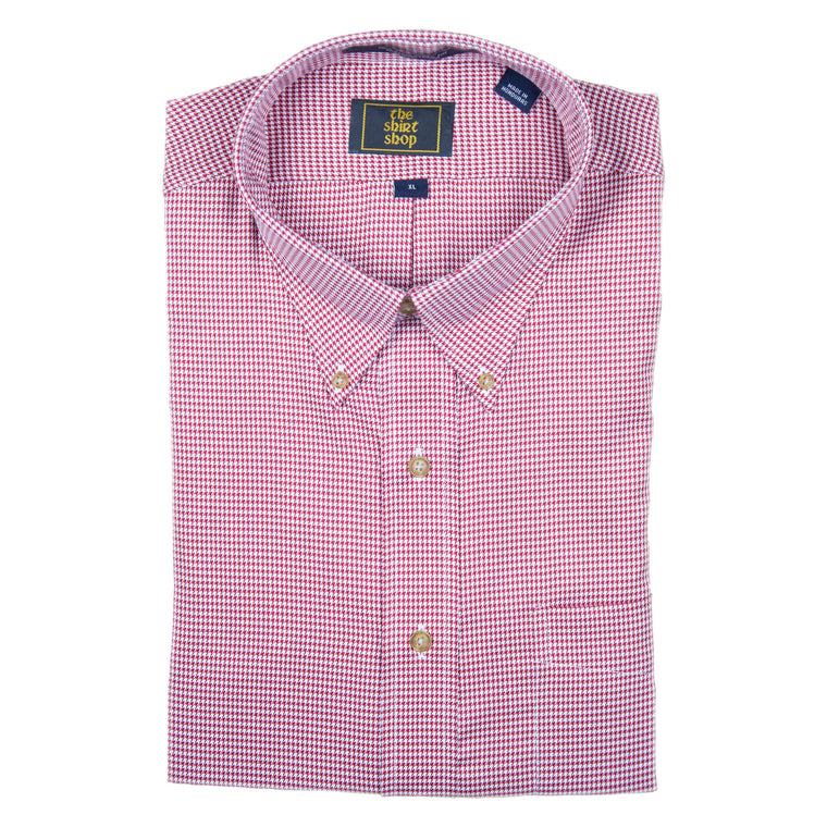 The Shirt Shop Wrinkle Free Crimson Houndstooth Button Down
