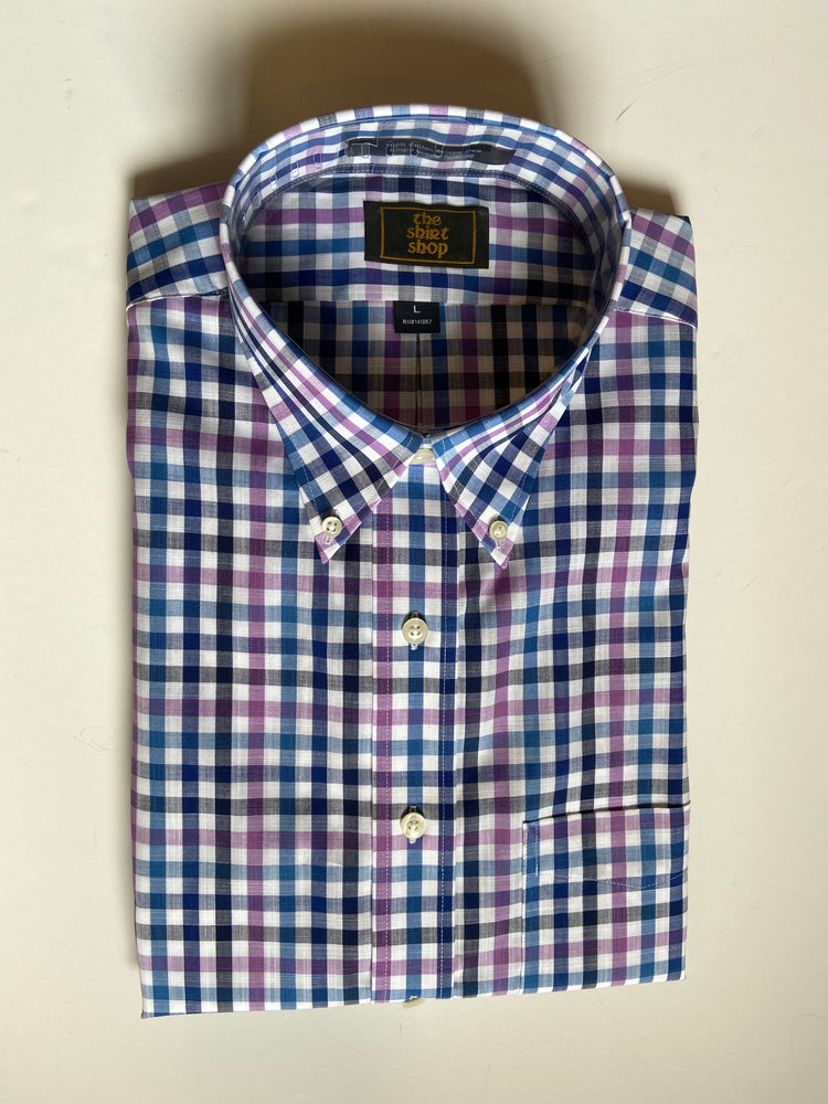 The Shirt Shop Wrinkle Free Non Logo- Blue and Purple Check