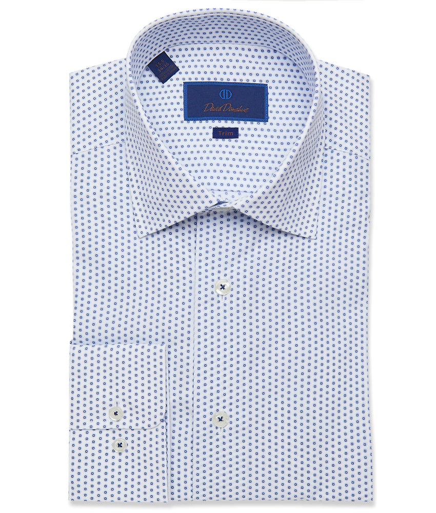 David Donahue White & Navy Medallion Print Dress Shirt - Trim Fit