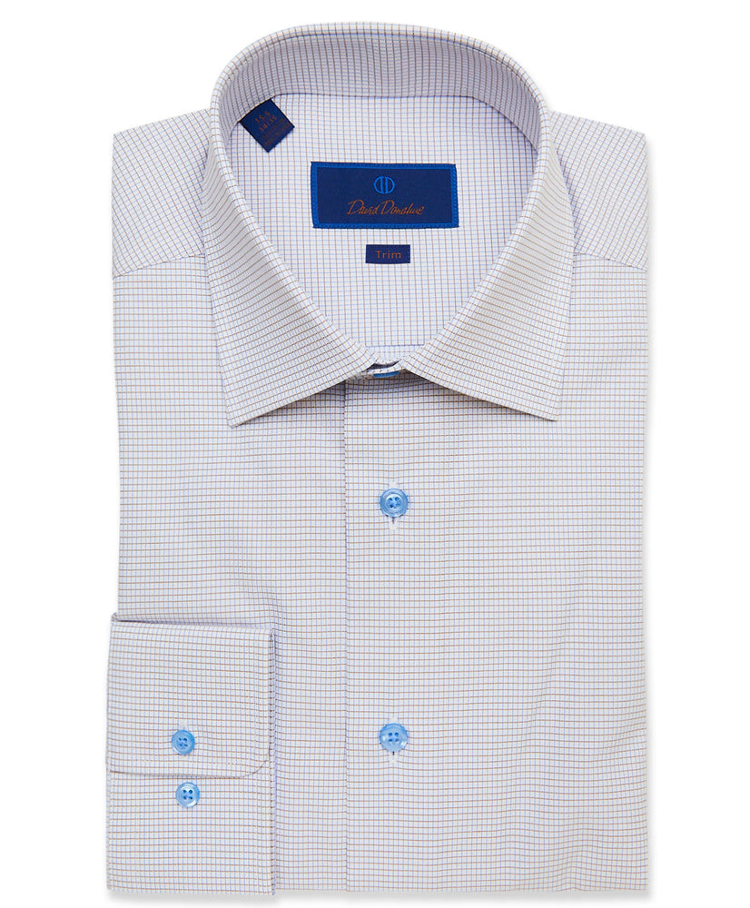 David Donahue White & Dune Textured Mini Check Dress Shirt - Trim Fit