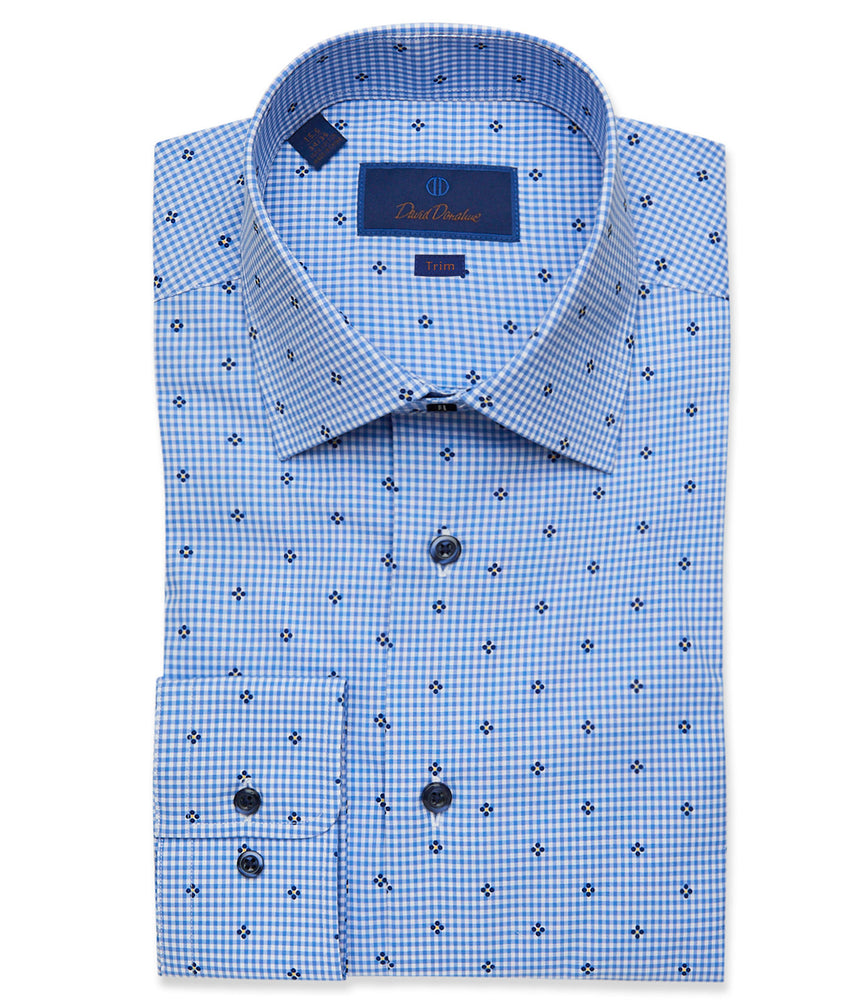 David Donahue Blue Gingham with Floral Print Dress Shirt - Trim Fit