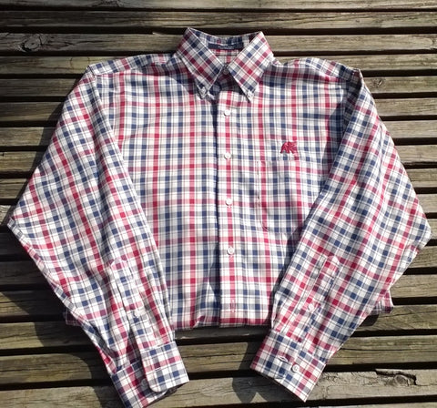 Wrinkle Free Crimson/Navy Check with Elephant Wear Logo