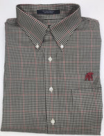 The Shirt Shop Wrinkle Free Black and Bone Check with Crimson Overlay with Logo